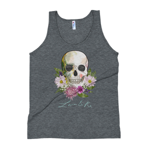 Love And Rx: Flower Skull Print On Tri-Black Unisex Tank