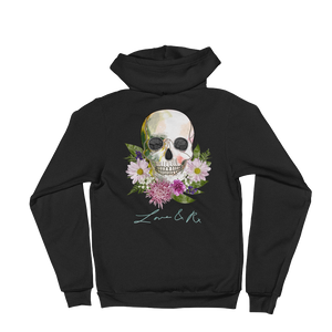 Love And Rx: Flower Skull Love And Rx Zip Hoodie Sweater - Black