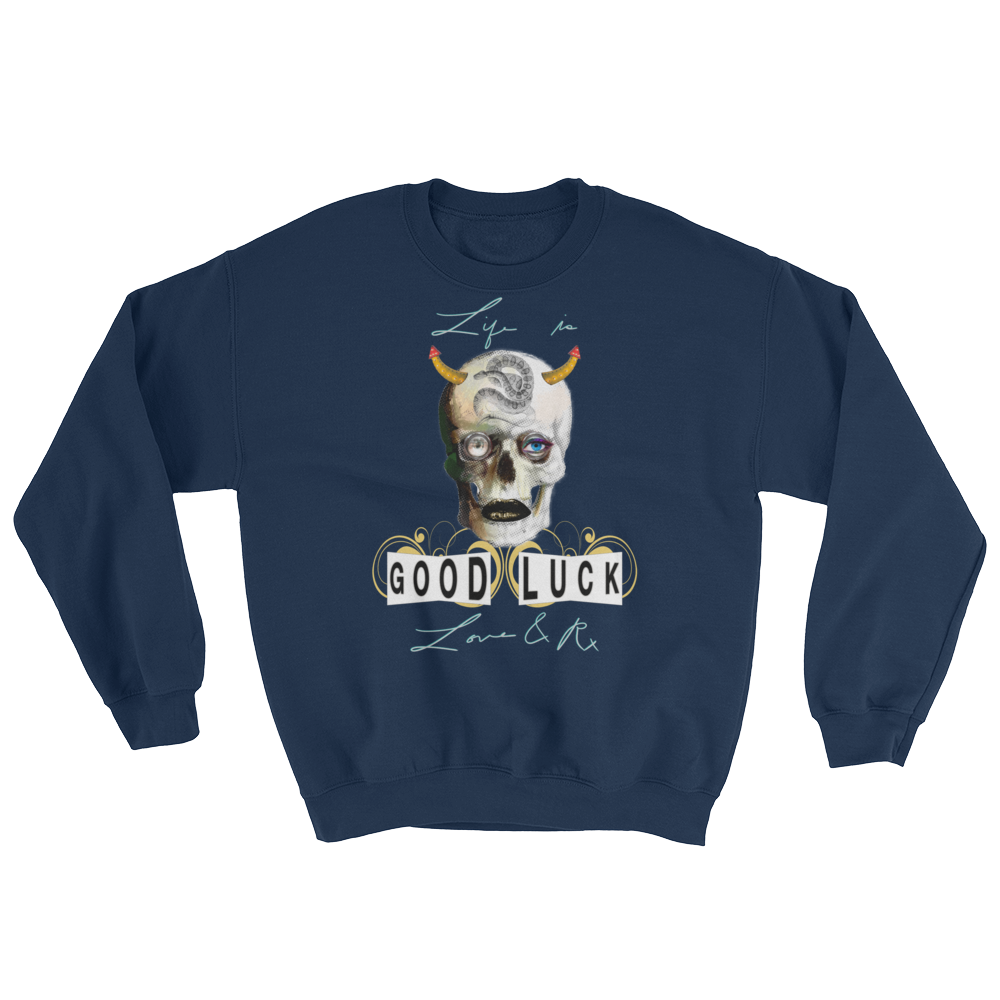 Love And Rx: Good Luck Heraclitus Skull Life Is Love And Rx Heavy Blend Sweatshirt - Navy