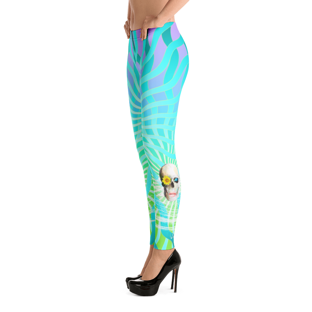 Mermaid Waves Dreamer Skull Yoga Dance Pilates Leggings