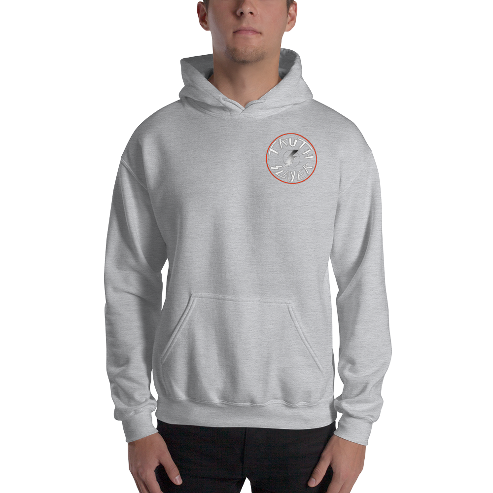 Love And Rx: 3rd Eye Flaming Skull Truth Slayer Hooded Sweatshirt Print On 50-50 Hooded Sweatshirt - Sport Grey