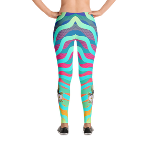Mermaid Aqua Rays Flower Skull Studio To Street Yoga Dance Leggings