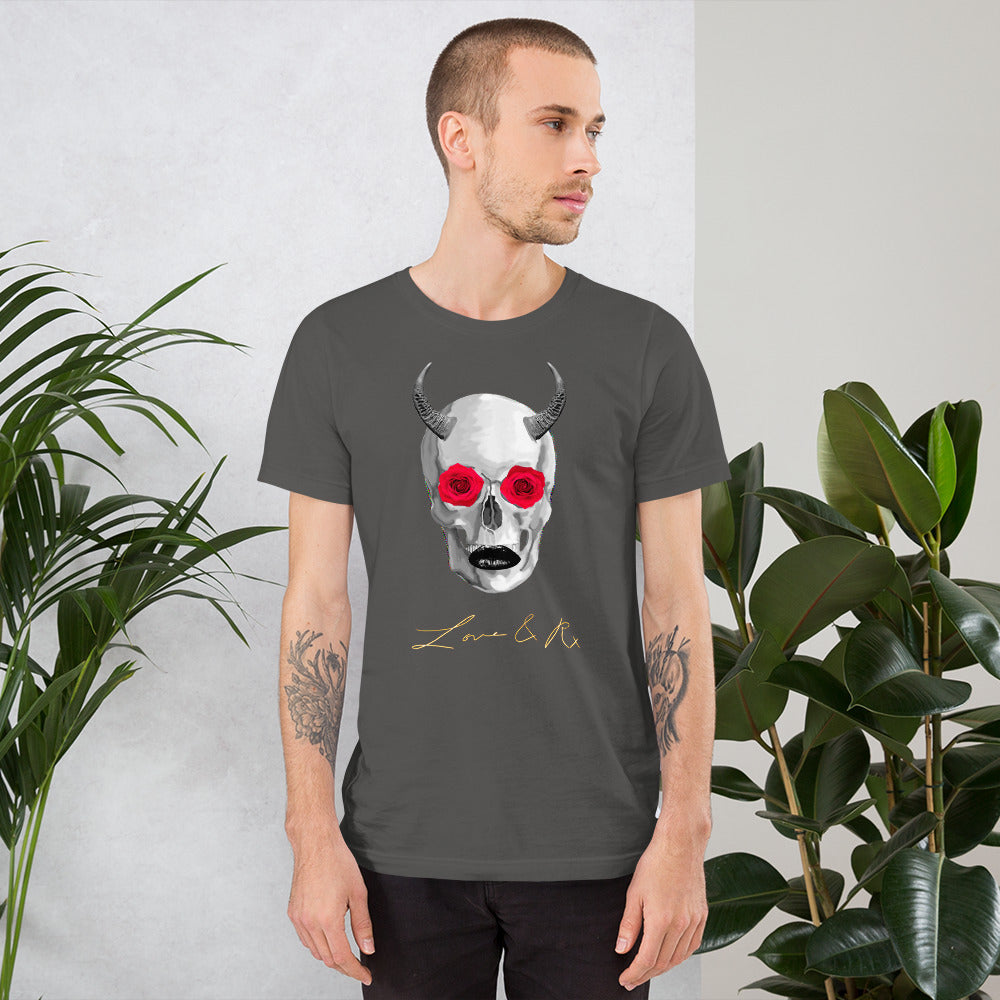 Mythical Horned Chupacabra Rose Skull Short-Sleeve Unisex T-Shirt - Asphalt