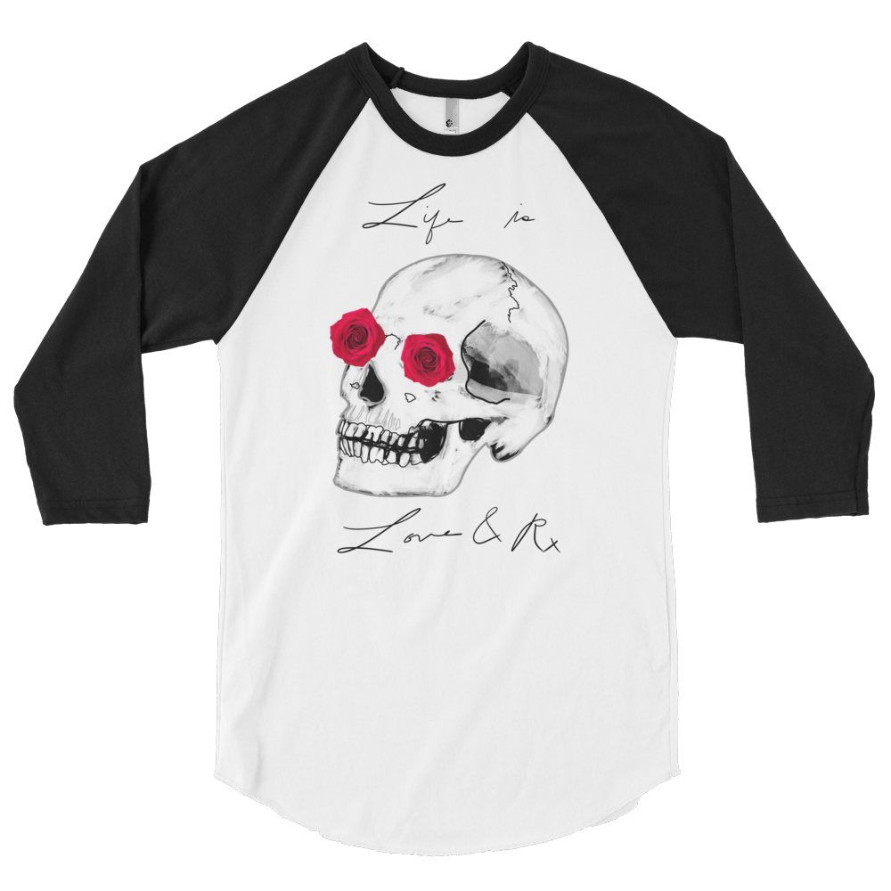 Love And Rx: He She Rose Skull Love And Rx 3/4 Sleeve Unisex Raglan Shirt - White W/ Black Sleeves