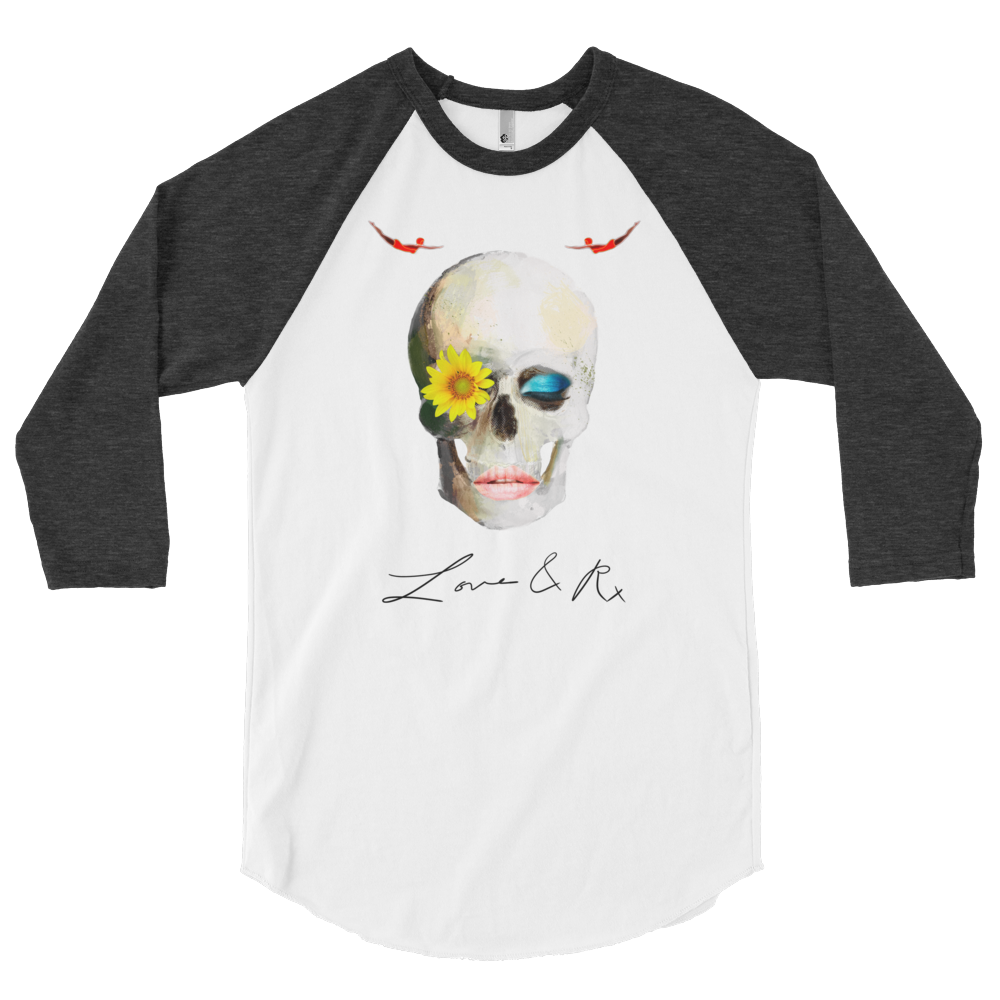 Love And Rx: Dreamer Skull Love And Rx 3/4 Sleeve Raglan T-Shirt - White W/ Heather Black Sleeve
