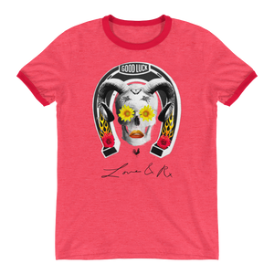 Good Luck Flower Ram Horseshoe Skull Love And Rx Ringer T-Shirt - Heather Red/ Red