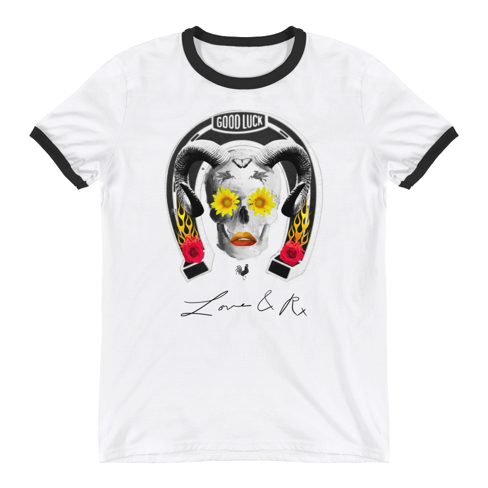 Good Luck Flower Ram Horseshoe Skull Love And Rx Ringer T-Shirt - White/ Black