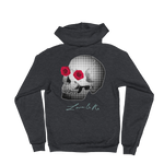 Love And Rx: She He Rose Skull Love And Rx Zip Hoodie Sweater - Dark Heather Grey
