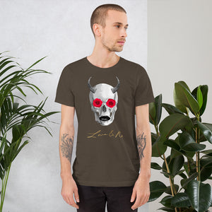 Mythical Horned Chupacabra Rose Skull Short-Sleeve Unisex T-Shirt - Army
