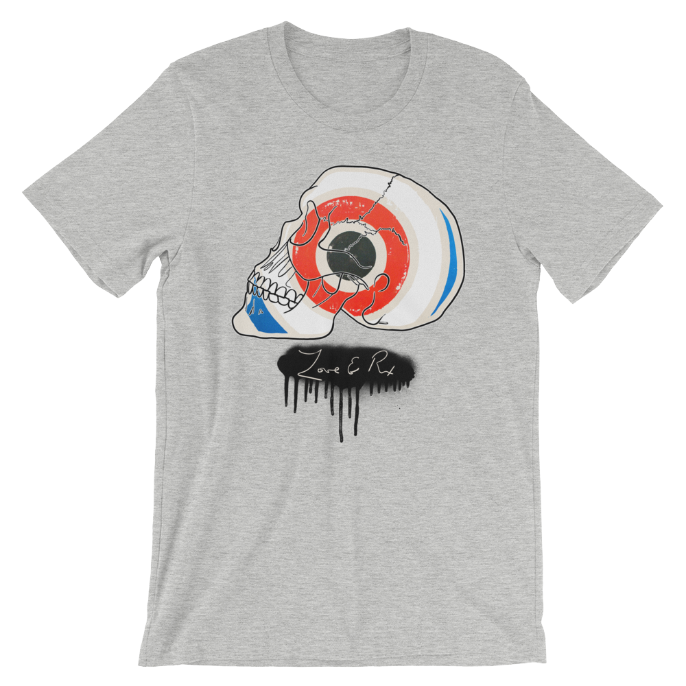 Love And Rx: Target Profile Skull Winged Sun Disc Love And Rx Short-Sleeve Unisex T-Shirt - Athletic Heather