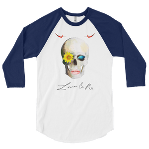 Love And Rx: Dreamer Skull Love And Rx 3/4 Sleeve Raglan T-Shirt - White W/ Navy Sleeve