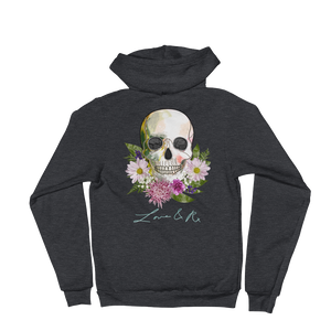 Love And Rx: Flower Skull Love And Rx Zip Hoodie Sweater - Dark Heather Grey