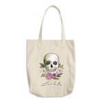 Flower Skull Love And Rx Denim Cotton Tote Bag