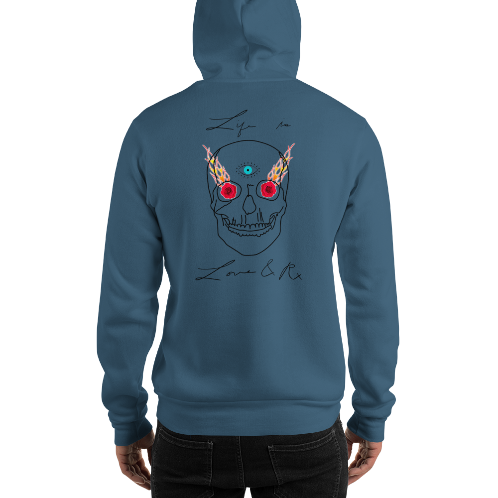 Love And Rx: 3rd Eye Flaming Skull Truth Slayer Hooded Sweatshirt Print On 50-50 Hooded Sweatshirt - Indigo Blue