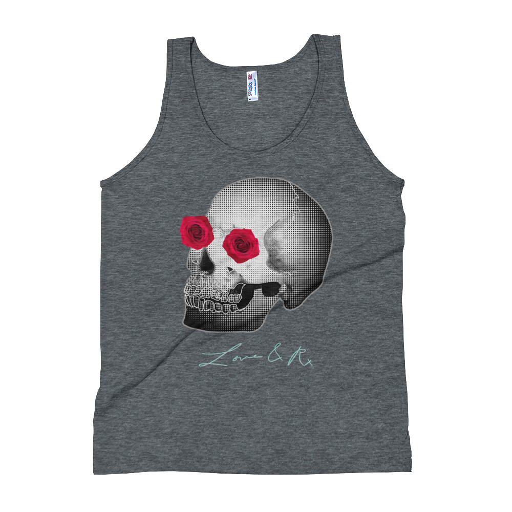 Love And Rx: He She Rose Skull Print On Tri-Black Unisex Tank