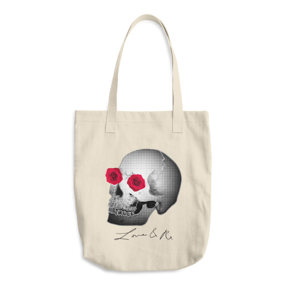 She He Rose Skull Love And Rx Denim Cotton Tote Bag