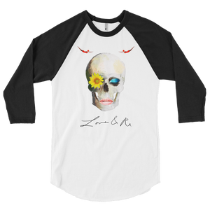 Love And Rx: Dreamer Skull Love And Rx 3/4 Sleeve Raglan T-Shirt - White W/ Black Sleeve