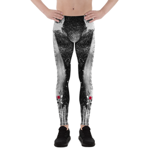 Mythical Chupacabra Rose Skull Ink Splash Men's Leggings