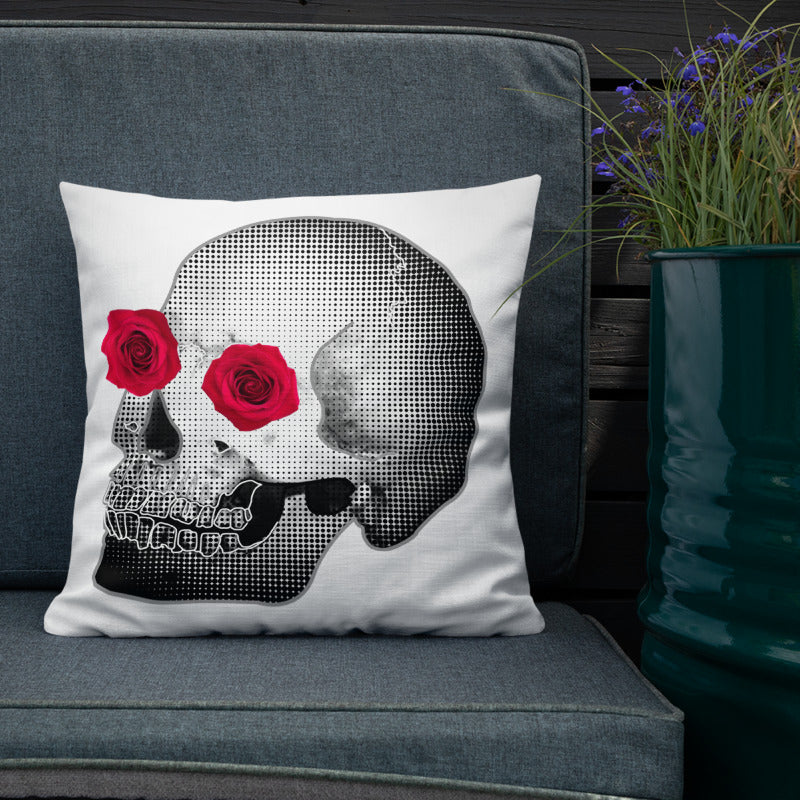 She He Rose Skull Print Love And Rx Premium 18x18 Pillow