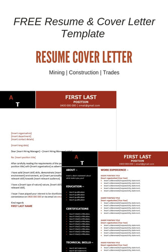 FREE Resume Template | Mining Red