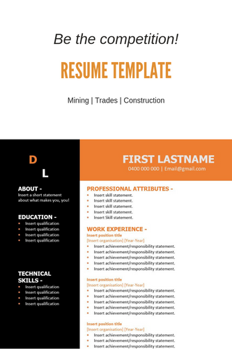 FREE Resume Template  Construction Orange