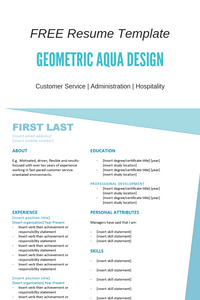 FREE Resume Template | Geometric Aqua
