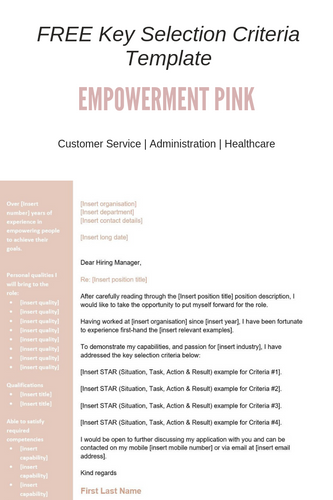 FREE Key Selection Criteria Template | Empowerment Pink