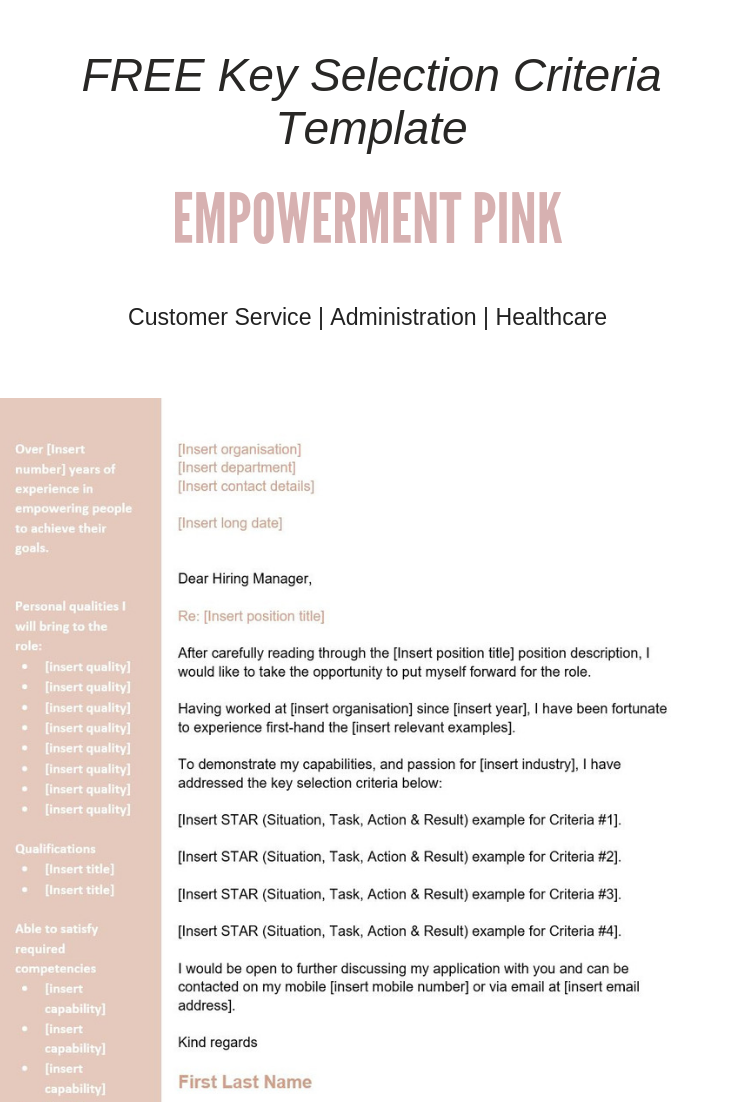 free key selection criteria template empowerment pink business
