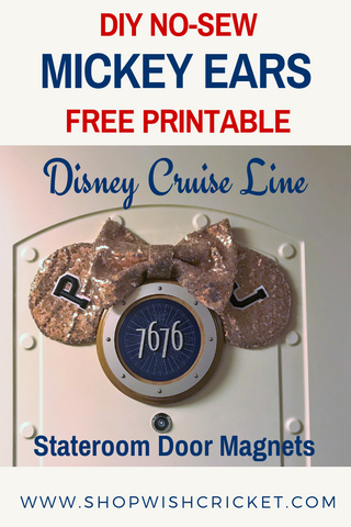 Pinterest Image showing DIY Rose Gold Mickey Ears Stateroom Magnet