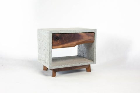 Concrete and Black Walnut Mid-century short Leg Table