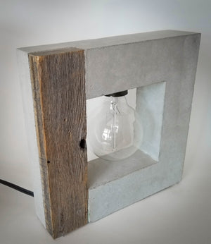 Barn Wood and Concrete Large Table Lamp
