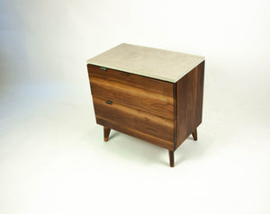 Black Walnut and Concrete Top Nightstand or Side Table