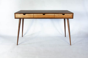 Black Walnut Office Desk with Cherry Wood Drawers
