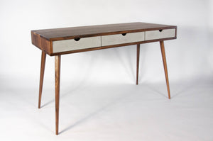 Black walnut office desk with three concrete drawers