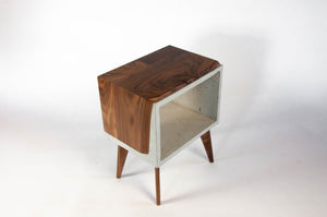 Live edge solid wood & concrete end table mid-century legs
