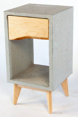 Concrete Box & Live Edge Maple Wood Drawer Nightstand