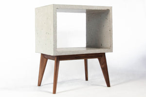 Concrete Cube & Tall Wood  Mid-century Legs End Table
