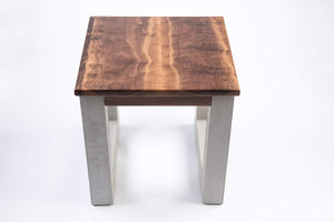 Walnut and Concrete Side Table - End Table