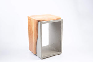 Concrete & Cherry Wood Side Table or Stool