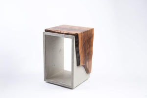 Concrete & Live Edge Black Walnut Side Table or Stool