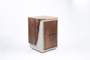 Concrete and Live Edge Wood Nightstand - Side Table - End Table