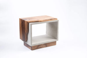 Concrete & Live Edge Black Walnut wood Side Table