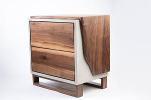 Concrete and walnut wood nightstand