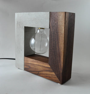 Concrete & Wood Square Table Lamp