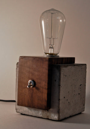 Concrete & Solid Wood Cube Lamp