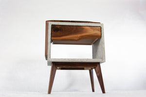 Tall Dwarf Solid Walnut Live Edge & Concrete Nightstand with Drawer