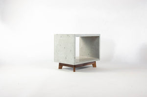 Concrete Cube & Small Wood Legs End Table