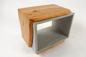 Concrete & Live Edge Cherry Wood Side Table