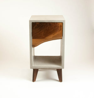 Concrete and Live Edge Wood Drawer Nightstand, Side Table