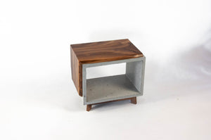 Live Edge Walnut & Concrete End Table with Short Legs